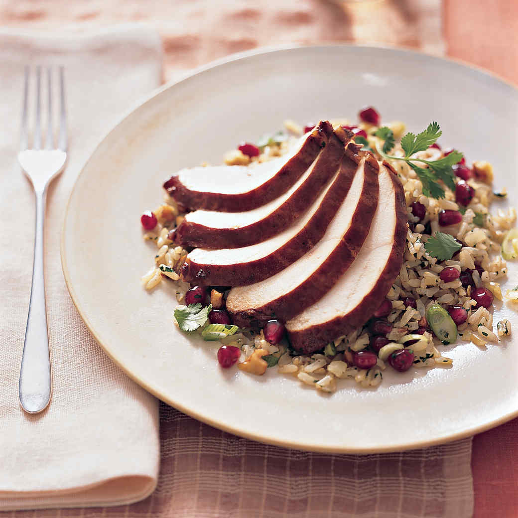 Pomegranate-Glazed Chicken Breast with Basmati Pilaf