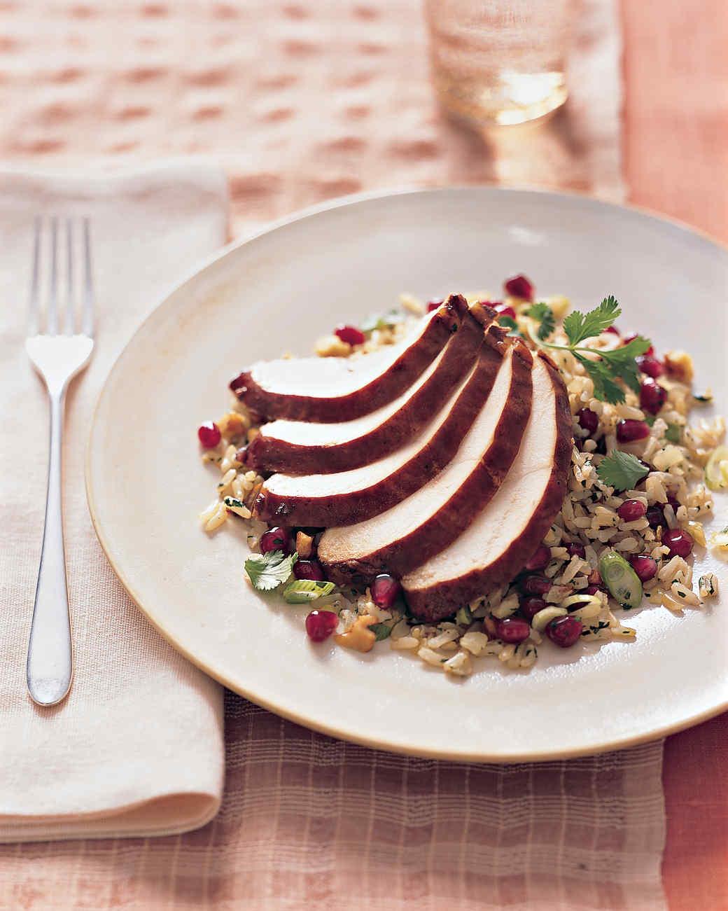 Pomegranate-Glazed Chicken Breast with Basmati Pilaf Recipe | Martha ...