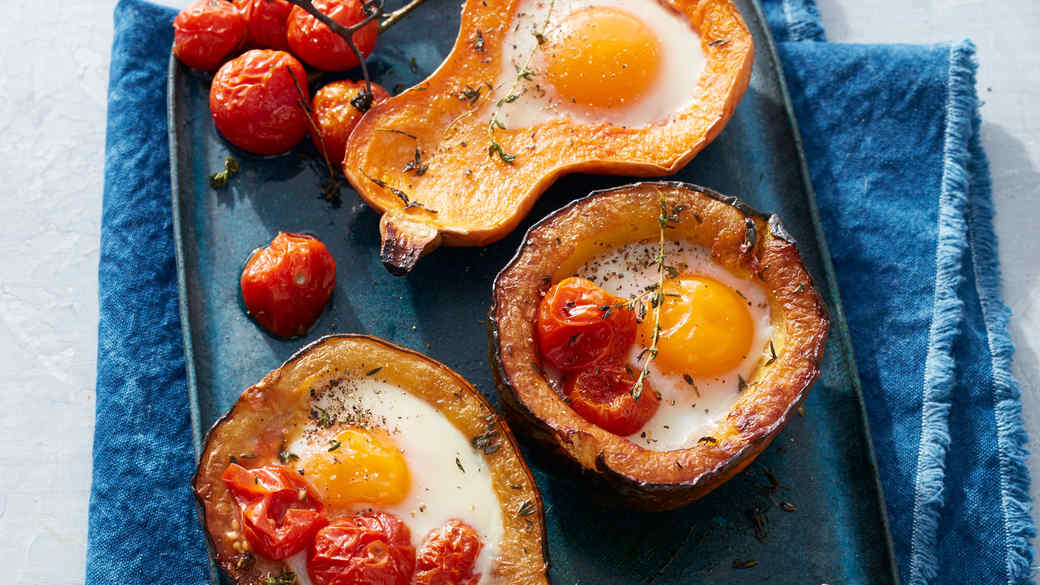 Roasted Squash with Cherry Tomatoes and Eggs