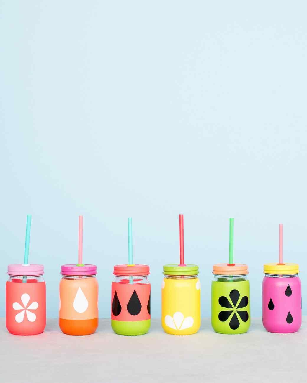 mason jar melon cups with straws