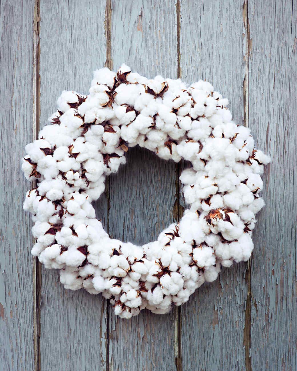 white cotton wreath