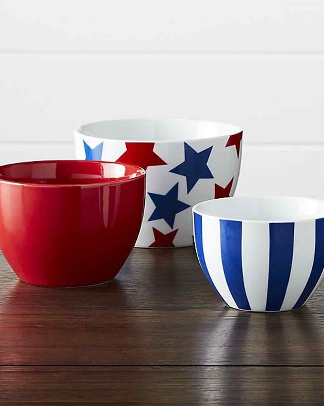 Crate & Barrel Stars and Stripes Porcelain Bowls