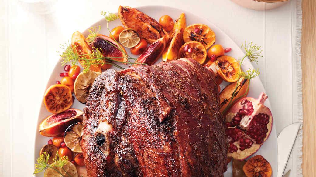 Spice-Rubbed Fresh Ham with Citrus Glaze