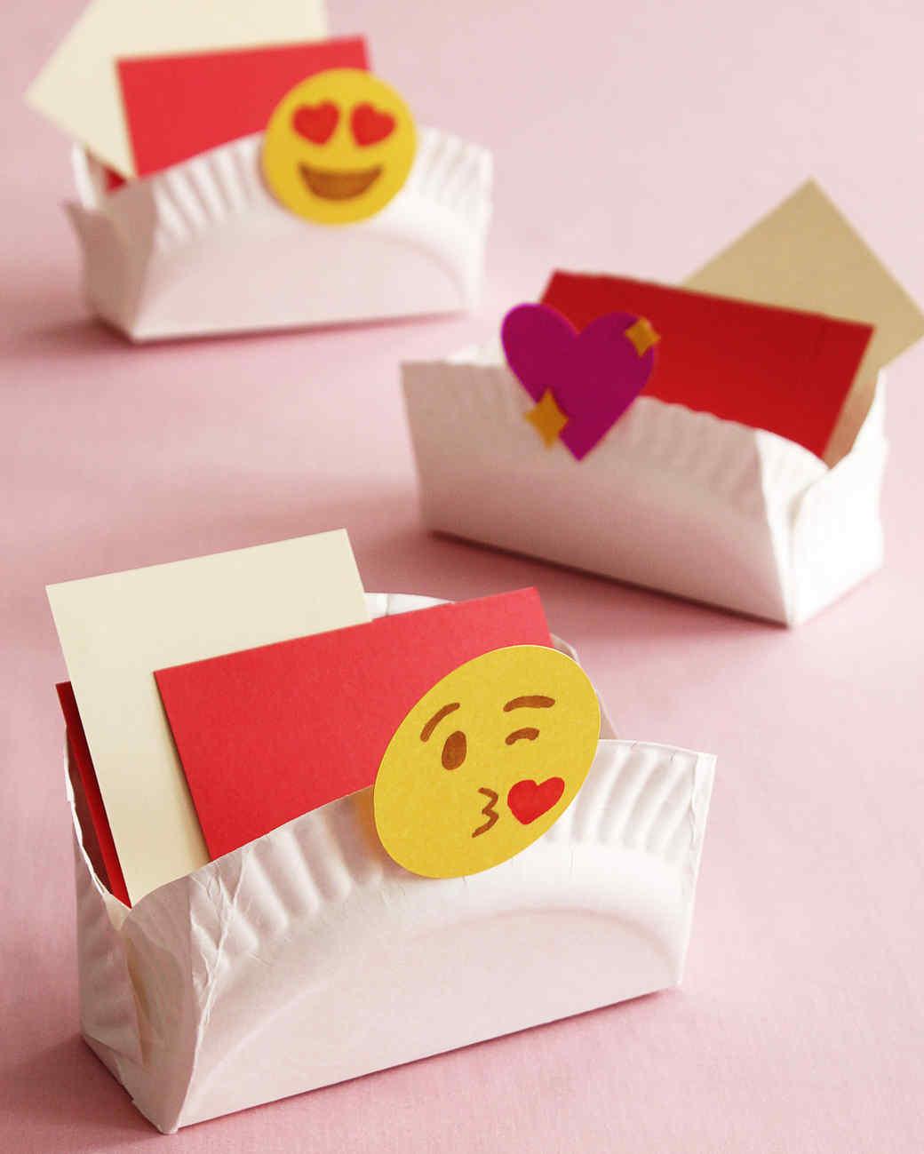Paper Plate Emoji Valentine Boxes Martha Stewart