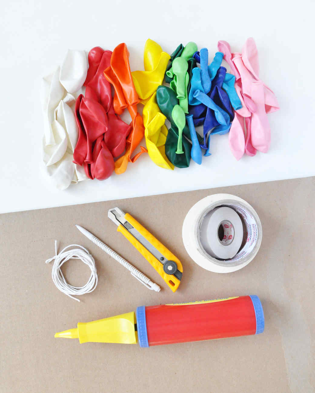 Rainbow balloon arch martha stewart for How to make a rainbow arch