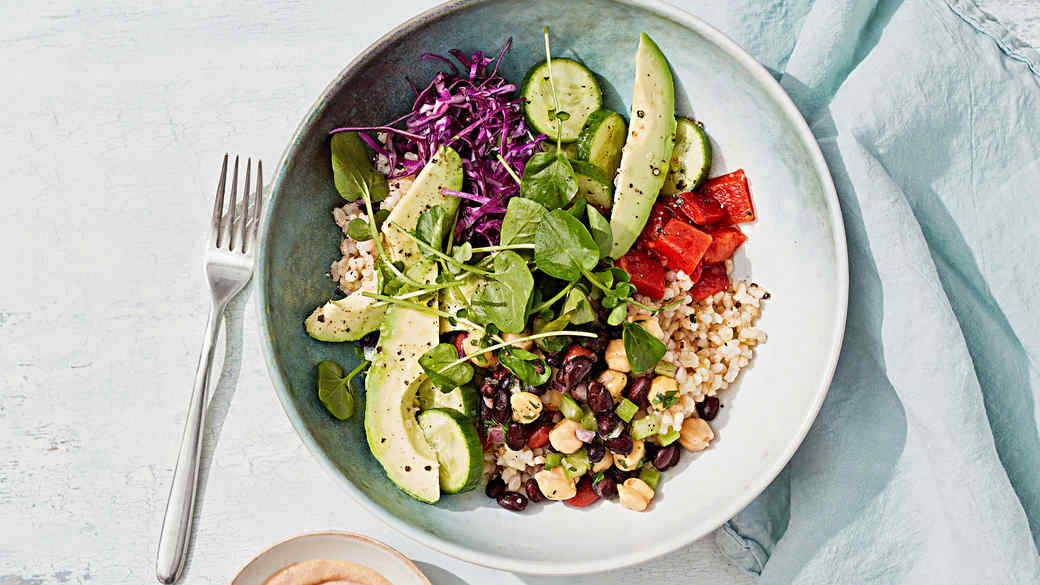rice and bean salad bowl