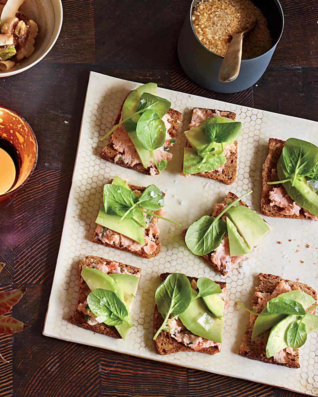 Salmon, Avocado, and Watercress Tea Crackers