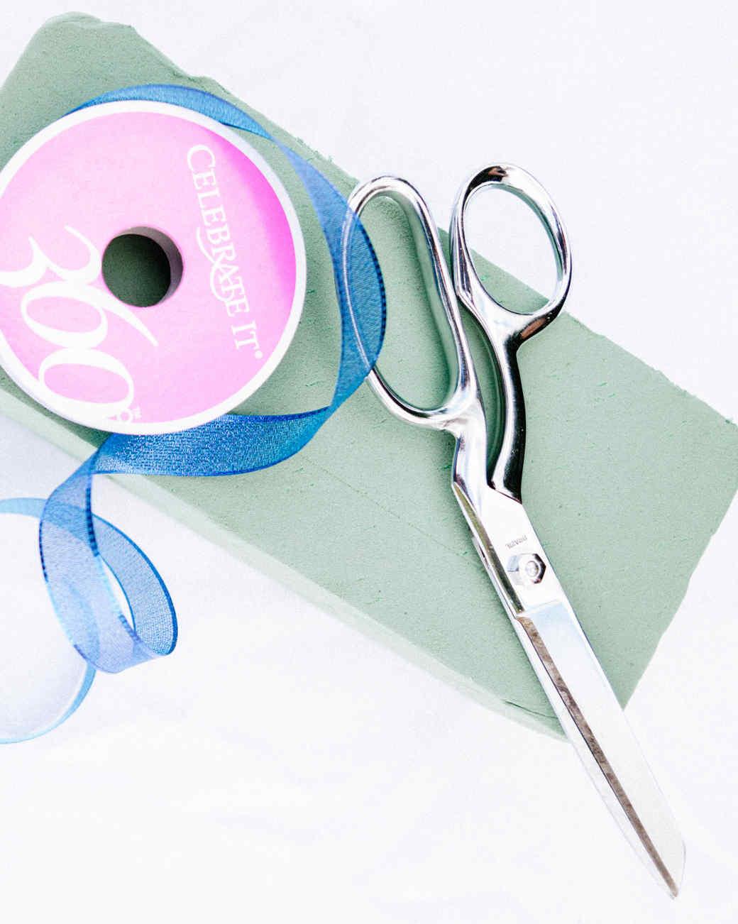 Scissors, ribbon and foam