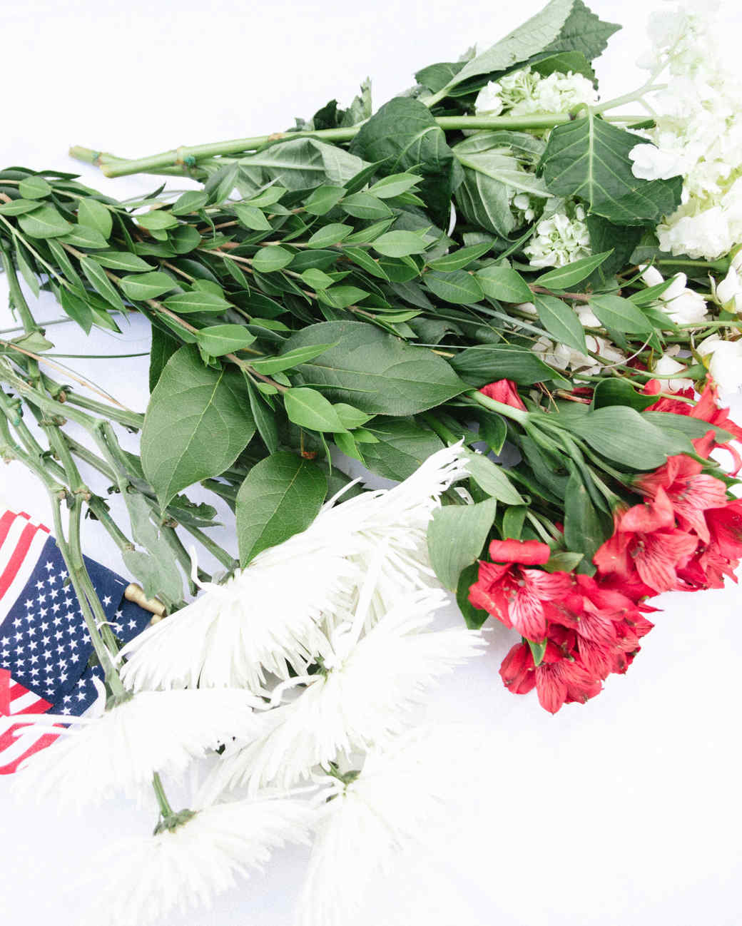 Flowers and American flag