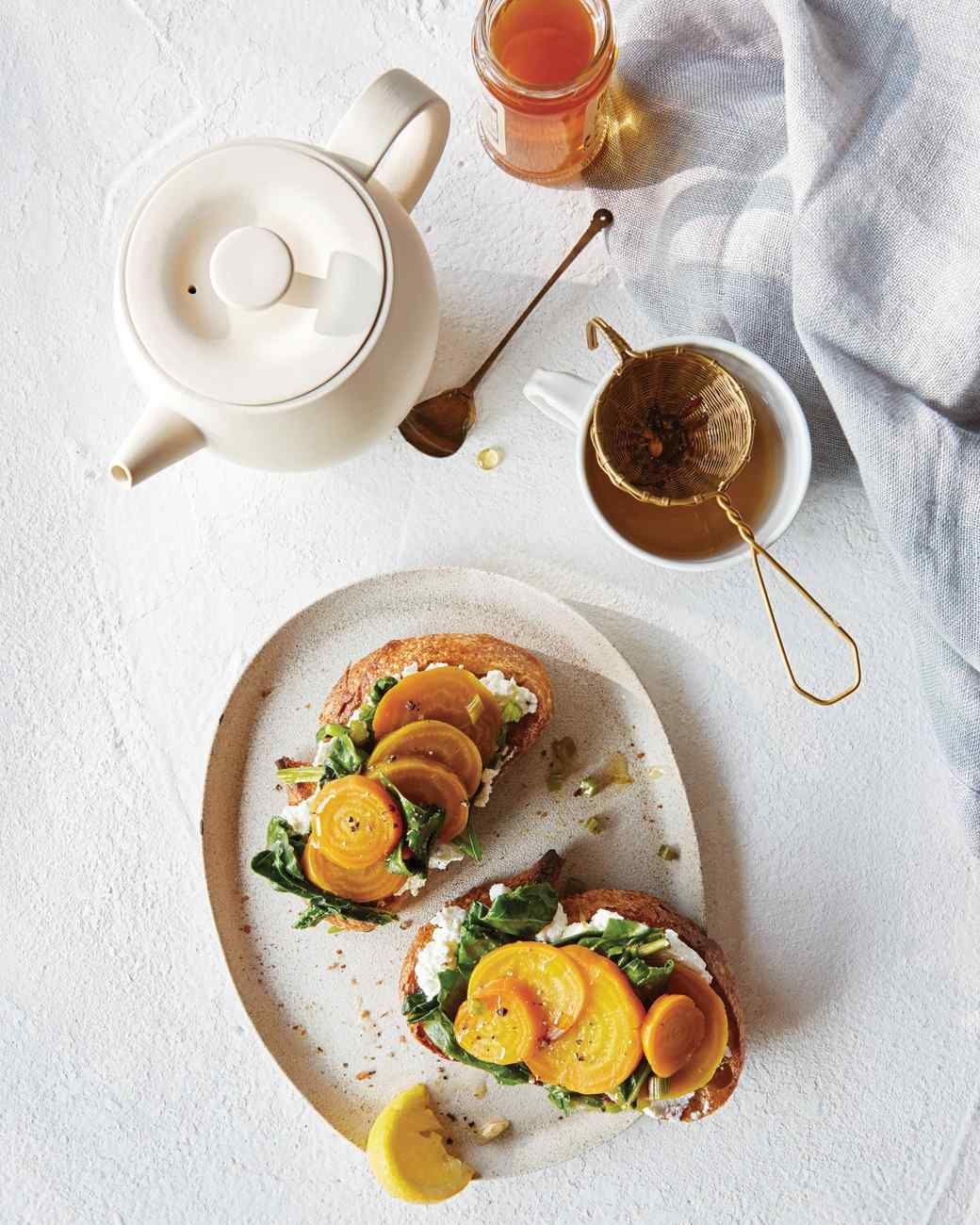 Golden Beets with Greens and Ricotta on Toast