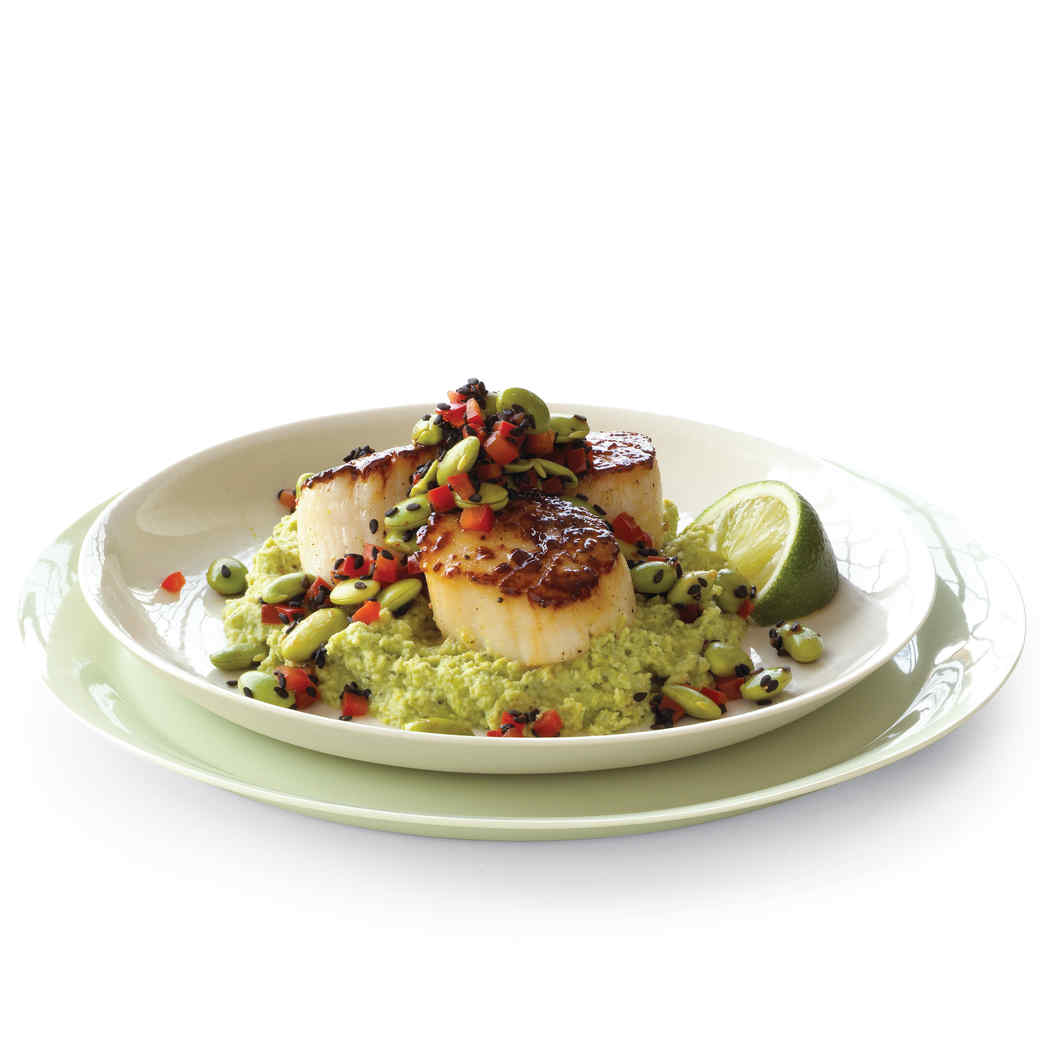 Scallops with Edamame Salad and Puree