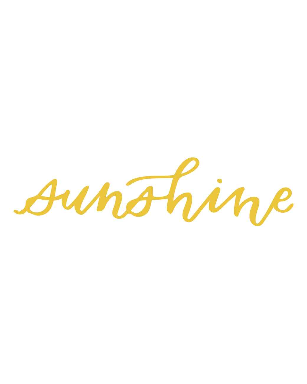 """sunshine"" calligraphy"