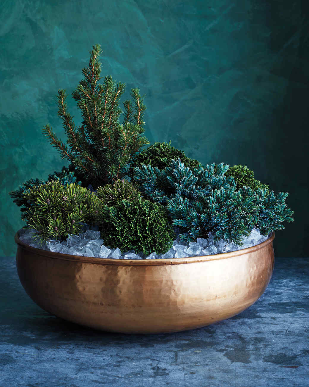 A Cluster of Conifers for a Festive Front Door Arrangement