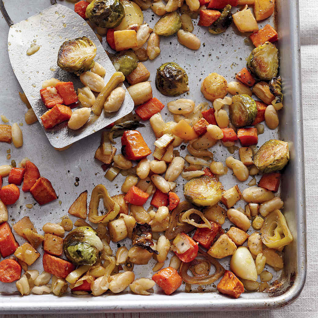 Roasted Winter Vegetables with Cannellini Beans
