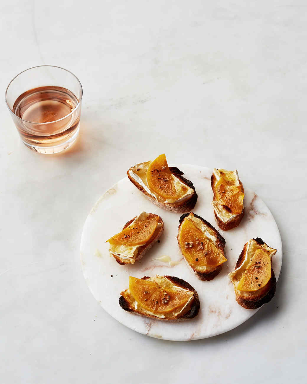 Persimmon and Brie Crostini