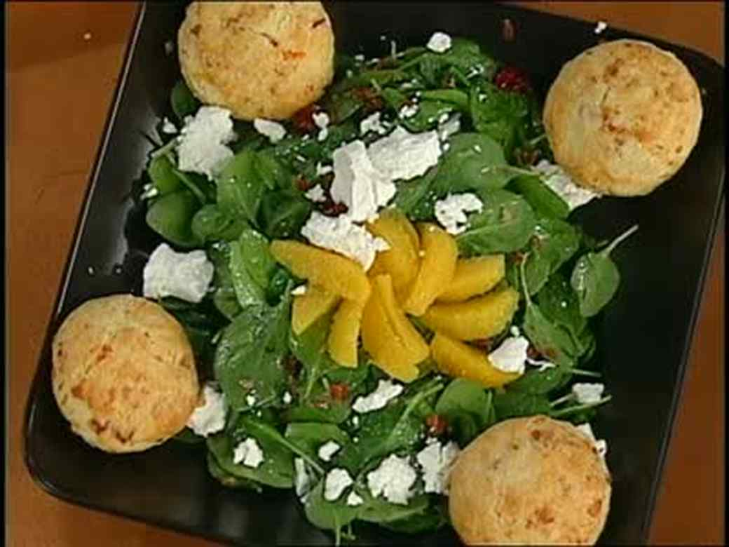 Ham and Cheese Biscuits and Bacon Salad