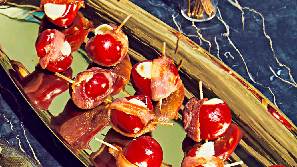Bacon-Wrapped Peppadew Poppers