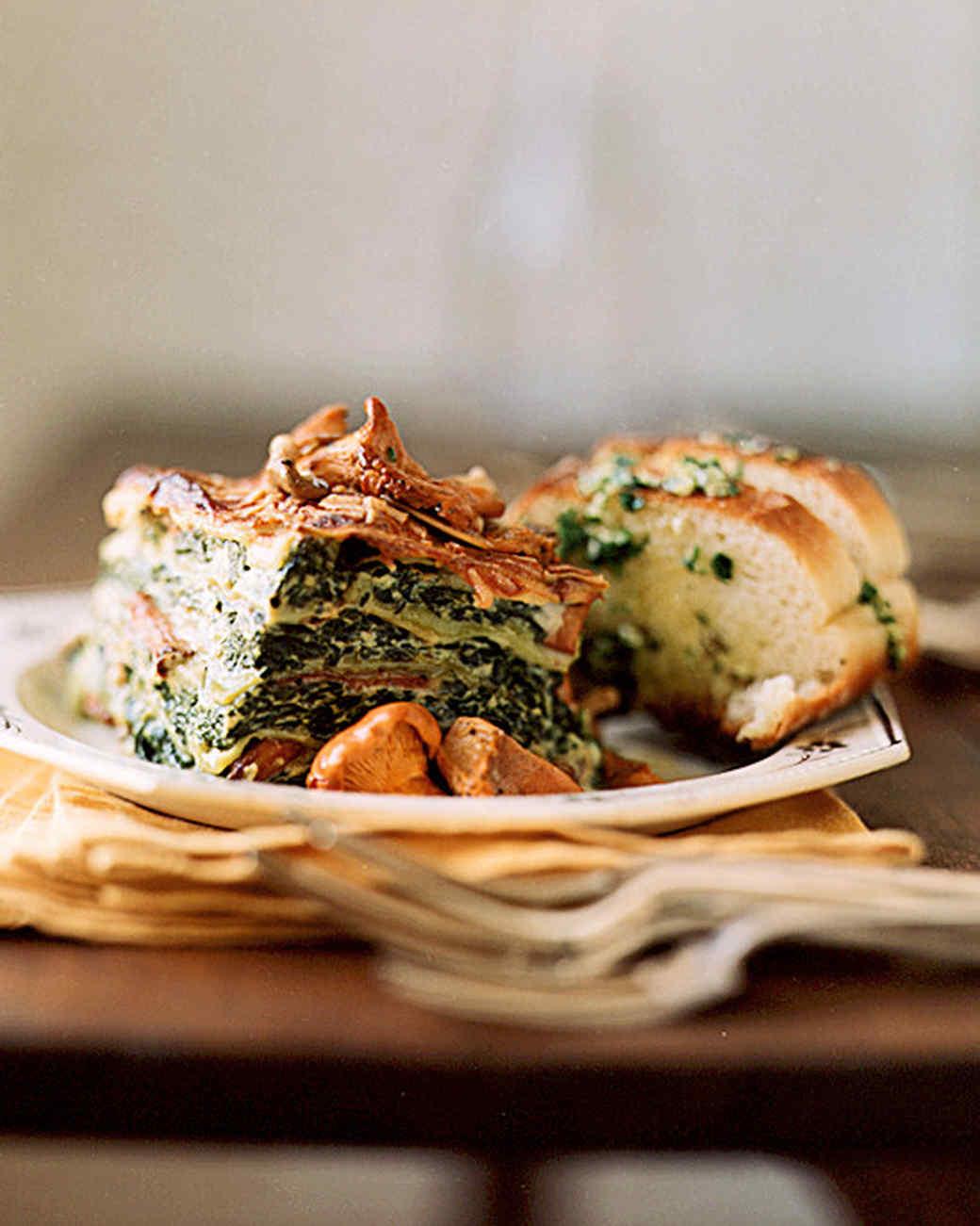 wild mushroom and spinach lasagna
