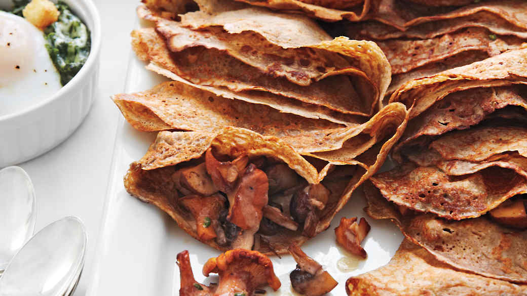 Buckwheat Crepes with Mushroom Filling
