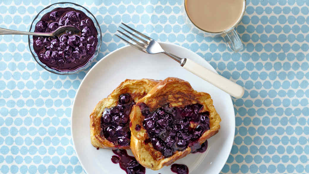 French Toast with Blueberry Maple Syrup