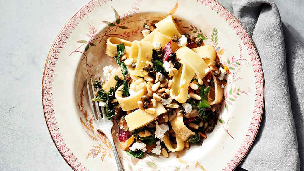 swiss chard and feta pasta