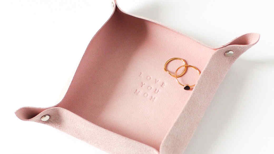 Personalized Pink Leather Valet Tray