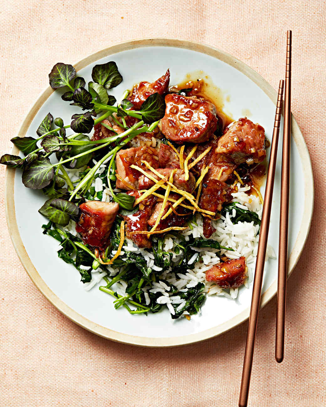 orange pork with watercress rice