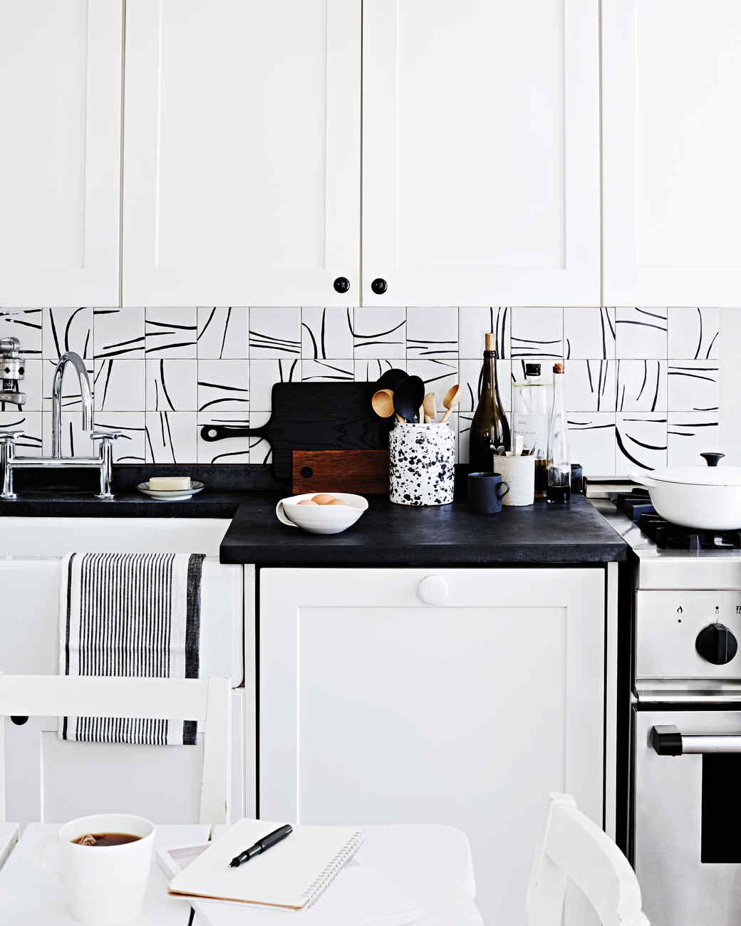 Black And White Kitchen Tiles: Hand-Painted Tile Backsplash