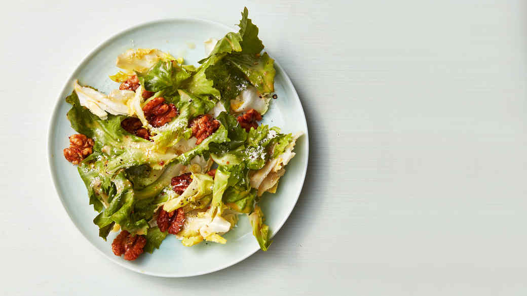 Escarole Caesar Salad with Walnuts