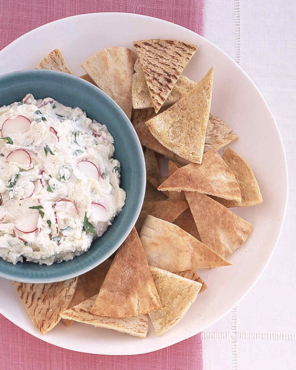 Pita Crisps with Feta-Radish Spread