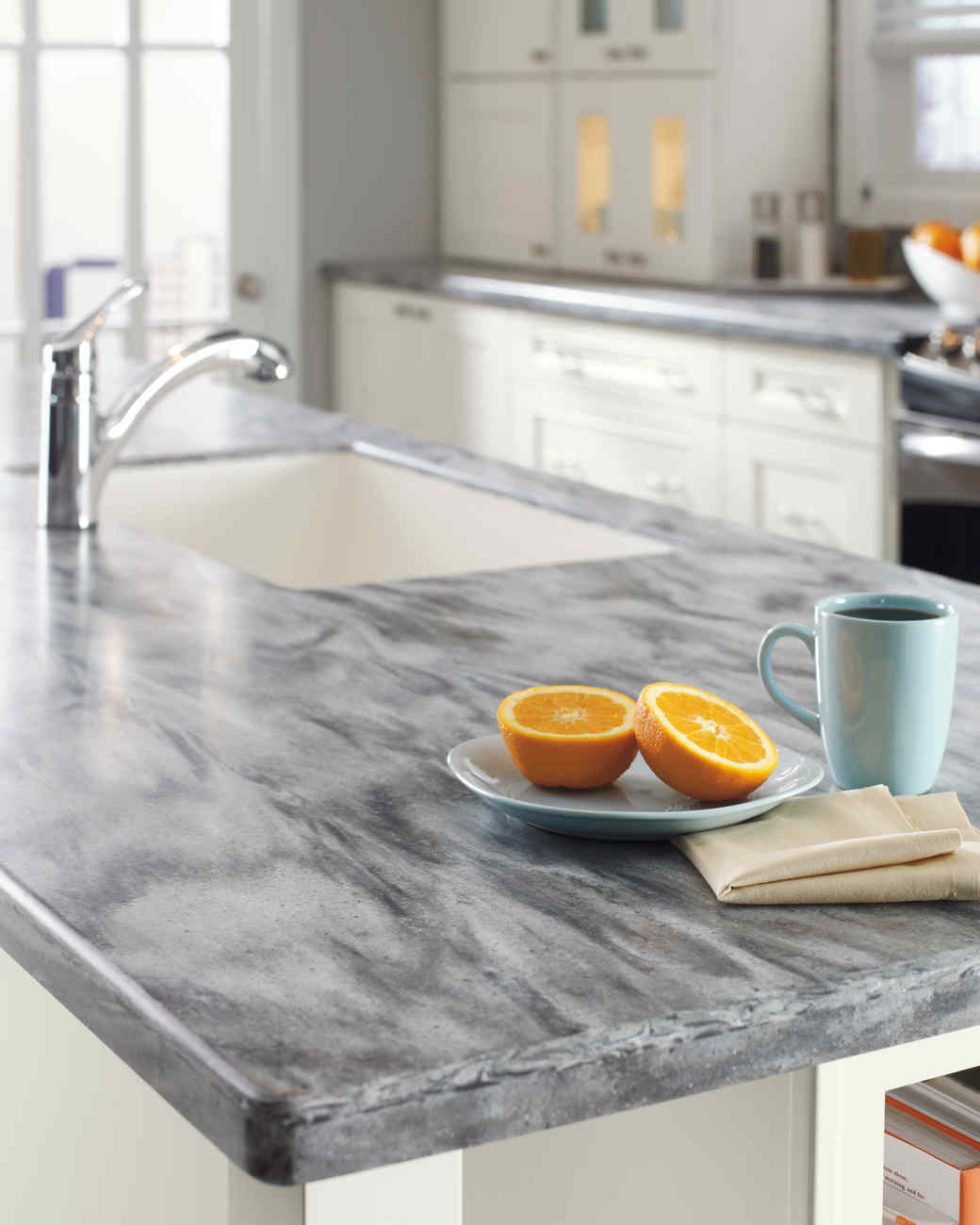Home depot quartz and corian countertops martha stewart for Corian countertops