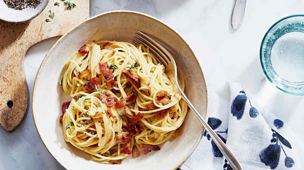 bacon pasta cheese sauce thyme