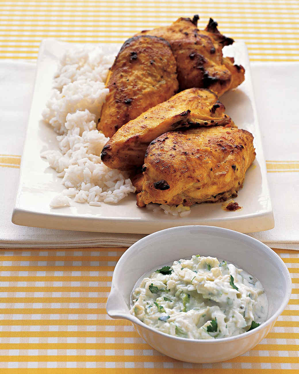 Easy Tandoori Chicken with Yogurt Sauce Recipe | Martha Stewart