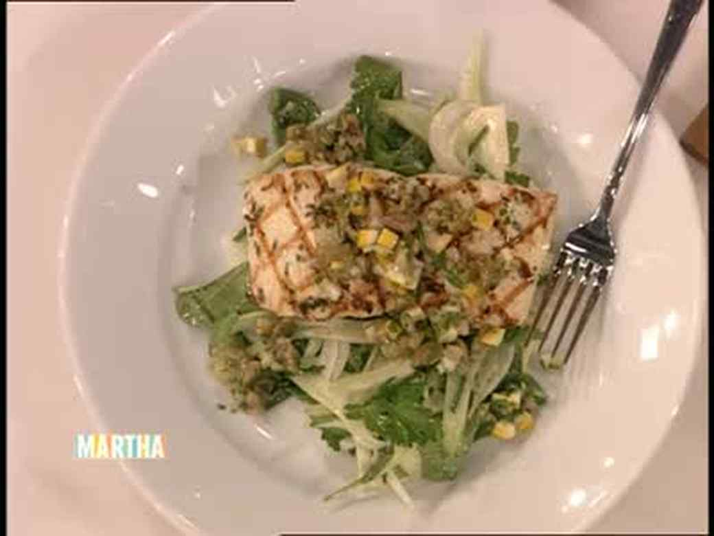 Olive Salsa served over Grilled Halibut and Fennel