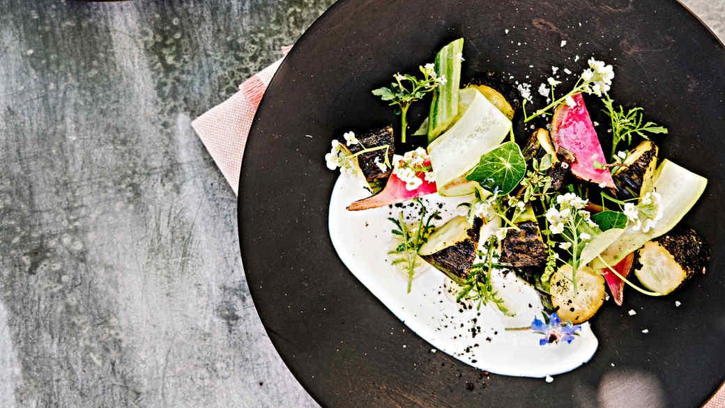 charred cucumber and radish salad with yogurt
