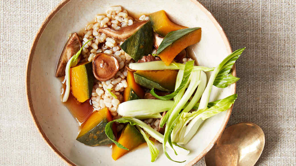 brown rice bowl with squash and shiitakes