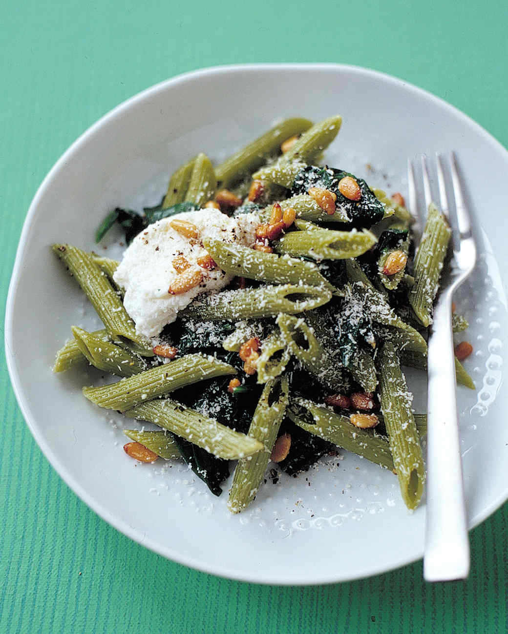 one-pot penne with spinach ricotta and pine nuts