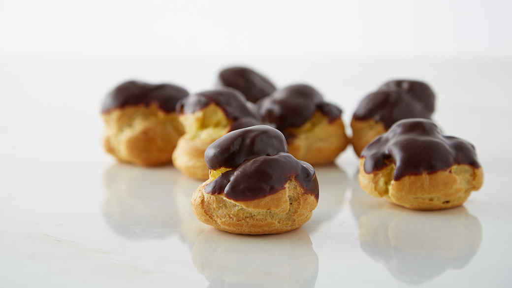 Coffee-Filled Cream Puffs with Chocolate Glaze