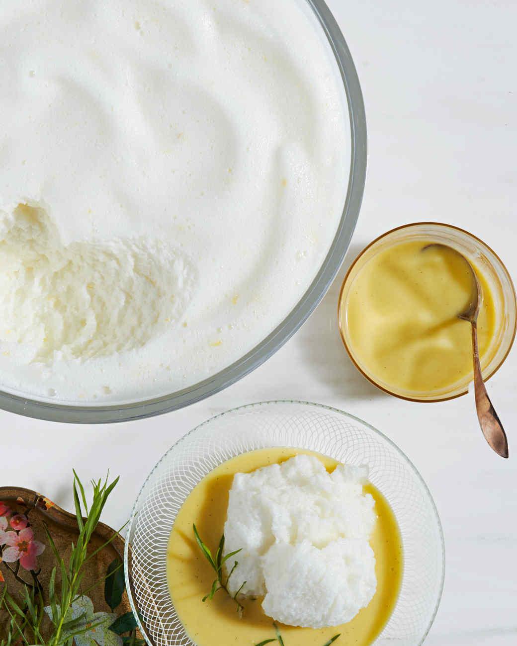 Lemony Snow Pudding with Tarragon Creme Anglaise