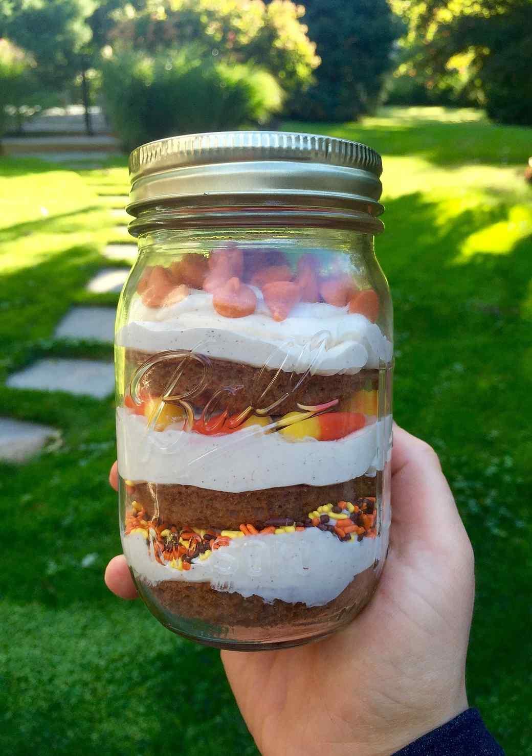 Pumpkin Spice Cupcakes in a Jar