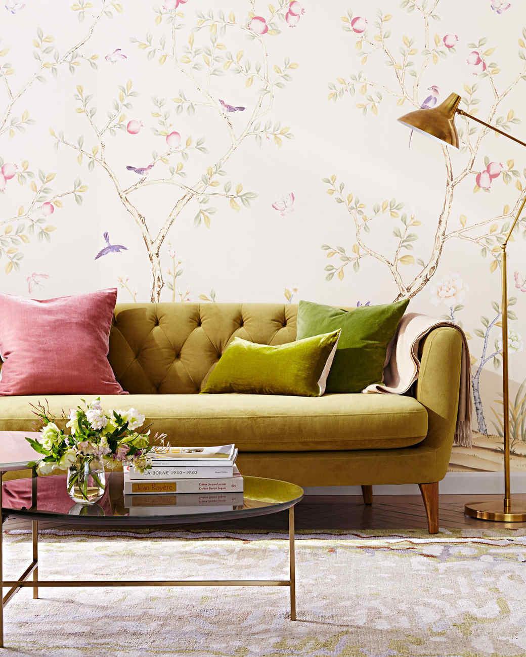 peel off wallpaper living room plush velvet sofa - How To Remove Wallpaper Easily