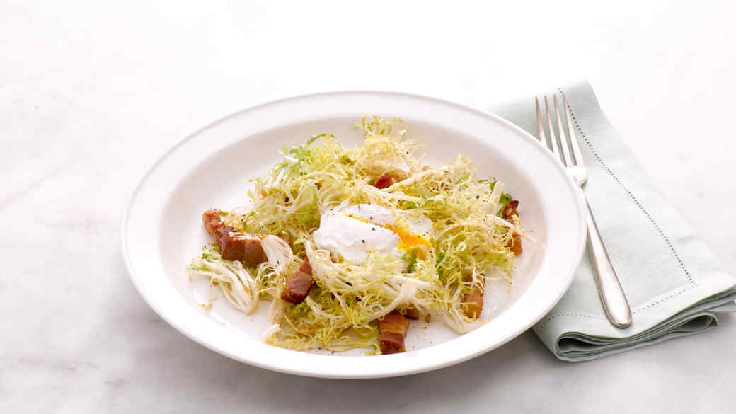 Frisee Salad with Lardons and Poached Eggs