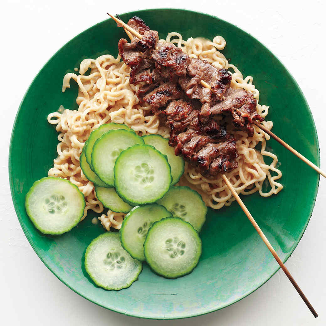 Beef Satay with Peanut-Ginger Ramen