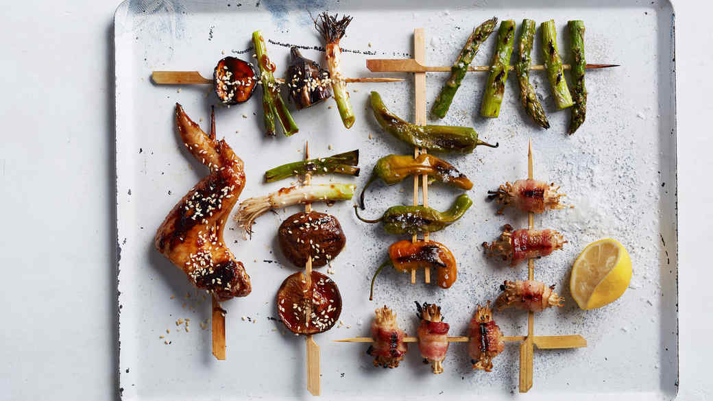 Teriyaki Chicken-Wing and Vegetable Skewers