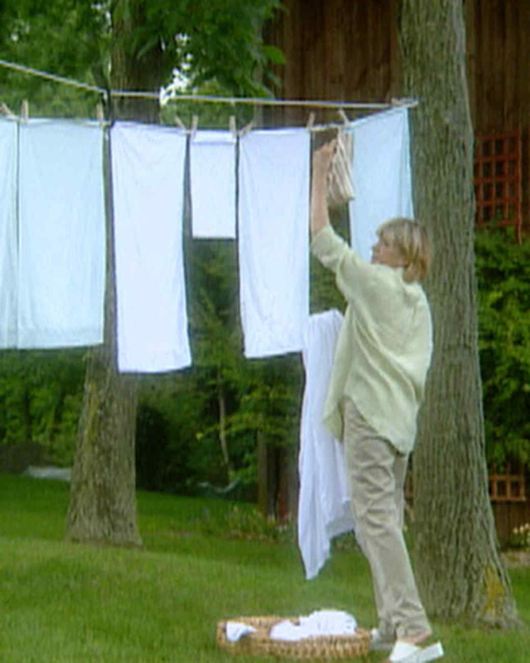 Clothes Drying On A Clothesline ~ Rigging a clothesline martha stewart