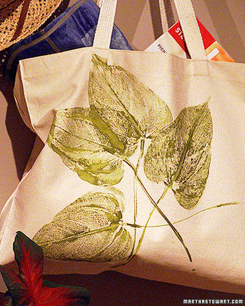 Martha Stewart Fabric Book Cover : Leaf print tote bag martha stewart