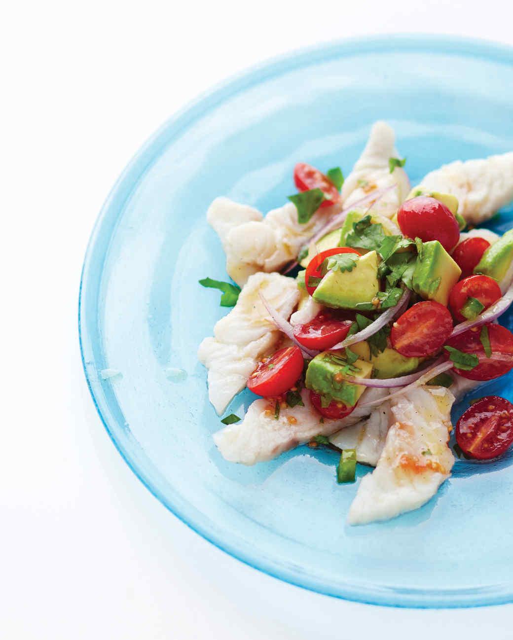 Ceviche with avocado tomato and cilantro recipe martha for Fish for ceviche
