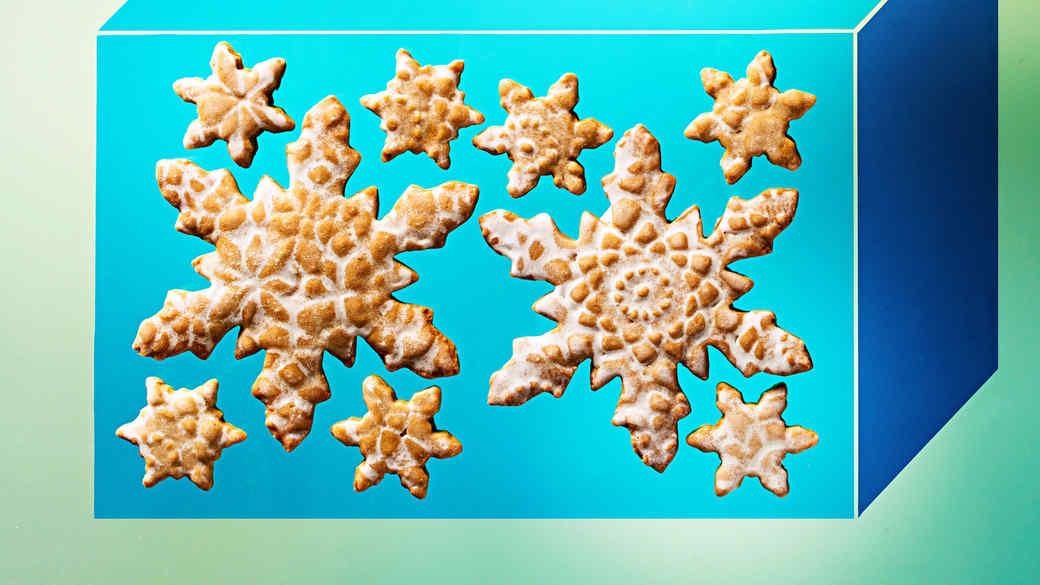 Glazed Spiced Snowflake Cookies