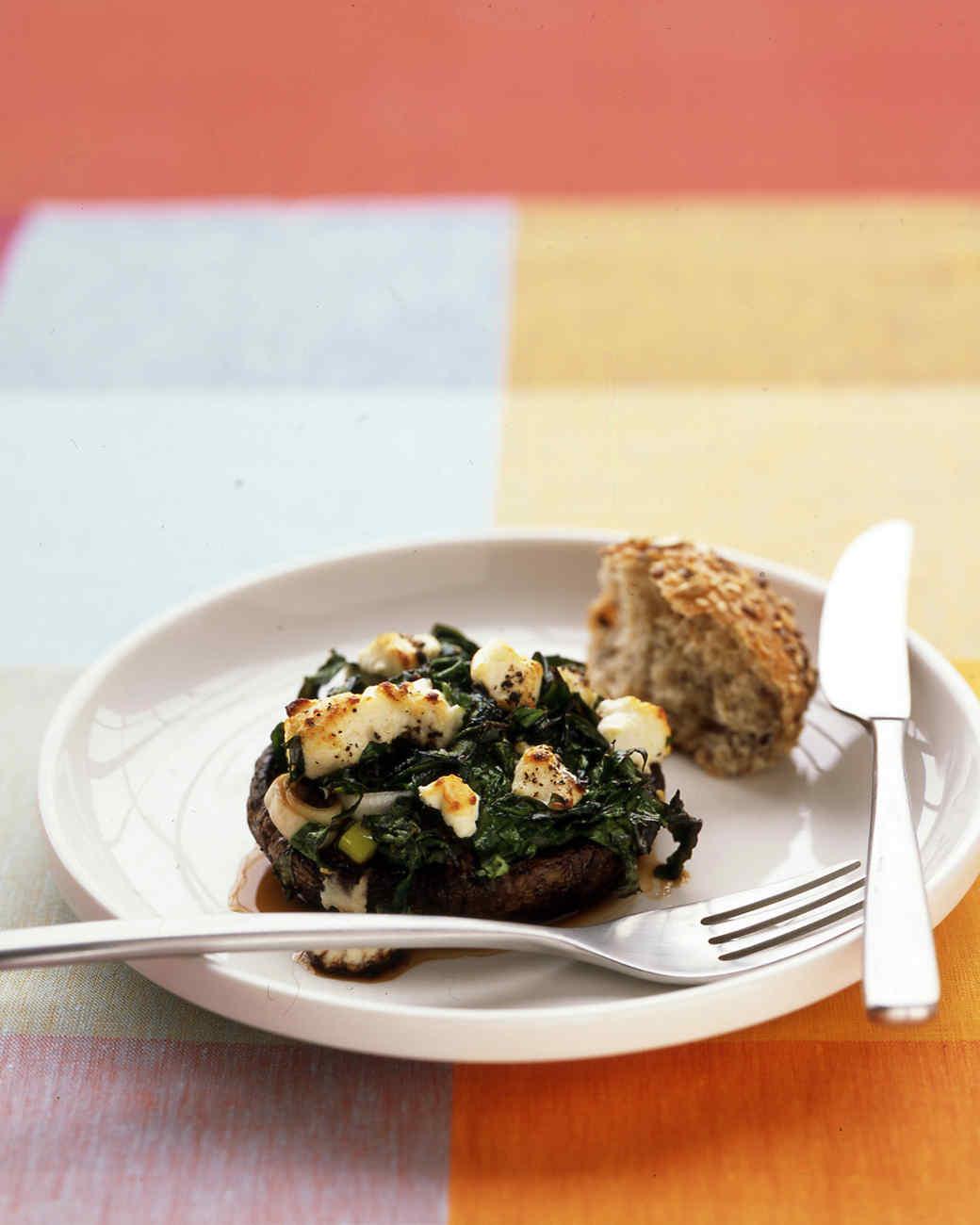 Portobellos with Leeks and Spinach Recipe | Martha Stewart