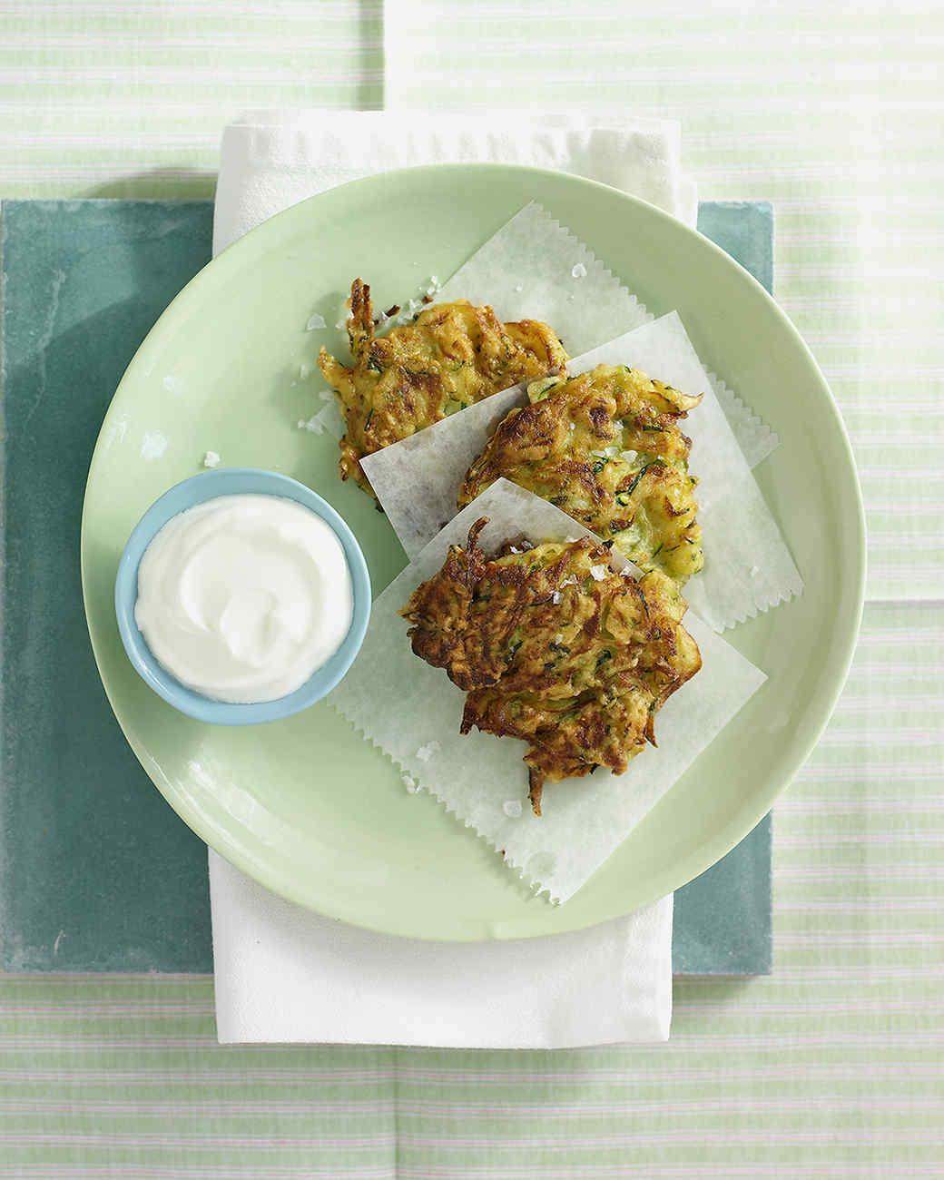 Zucchini-Scallion Fritters Recipe Martha Stewart